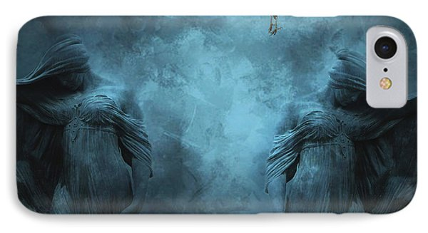 Surreal Gothic Cemetery Mourners And Raven Phone Case by Kathy Fornal