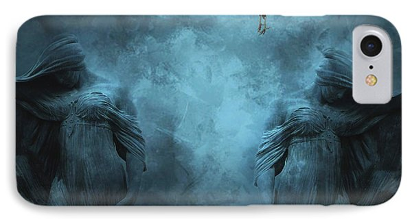 Surreal Gothic Cemetery Mourners And Raven IPhone Case by Kathy Fornal