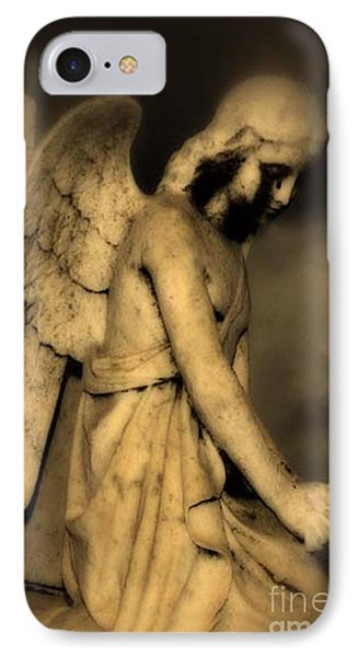 Surreal Gothic Dark Cemetery Angel With Black Face IPhone Case