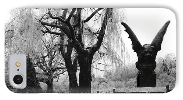 Surreal Gothic Gargoyle Black And White Tree Infrared Landscape  IPhone Case by Kathy Fornal