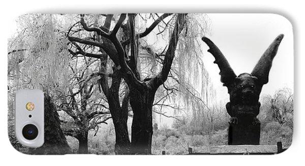 Surreal Gothic Gargoyle Black And White Tree Infrared Landscape  IPhone Case