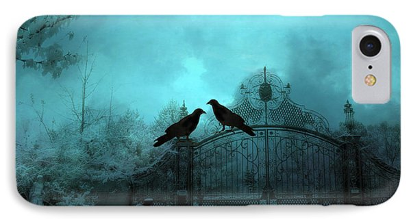 Surreal Gothic Ravens Fantasy Art Gate Scene IPhone Case by Kathy Fornal