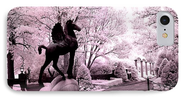 Surreal Infared Pink Black Sculpture Horse Pegasus Winged Horse Architectural Garden IPhone Case