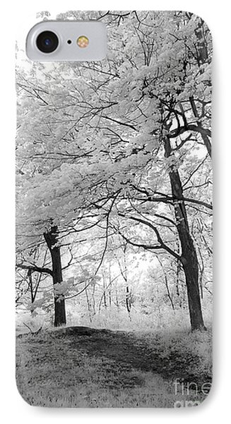 IPhone Case featuring the photograph Surreal Infrared Black White Nature Trees - Haunting Black White Trees Nature Infrared by Kathy Fornal