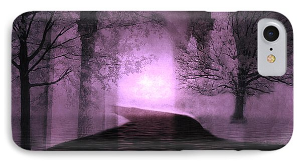 Surreal Purple Fantasy Nature Path Trees Landscape  IPhone Case by Kathy Fornal