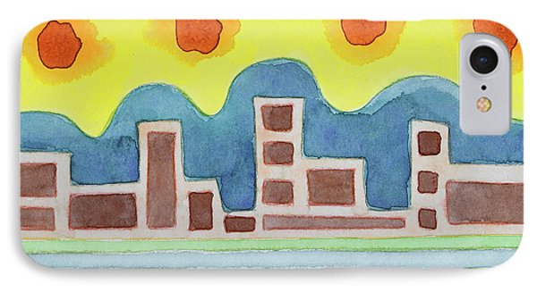 Surreal Simplified Cityscape  IPhone Case by Heidi Capitaine