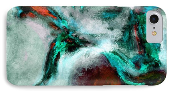 IPhone Case featuring the painting Surrealist And Abstract Painting In Orange And Turquoise Color by Ayse Deniz