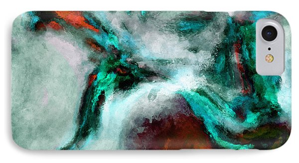 Surrealist And Abstract Painting In Orange And Turquoise Color IPhone Case by Ayse Deniz