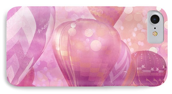 Surureal Hot Air Balloons Lavender Pink White Decor - Carnival Hot Air Balloons Nursery Room Decor IPhone Case by Kathy Fornal