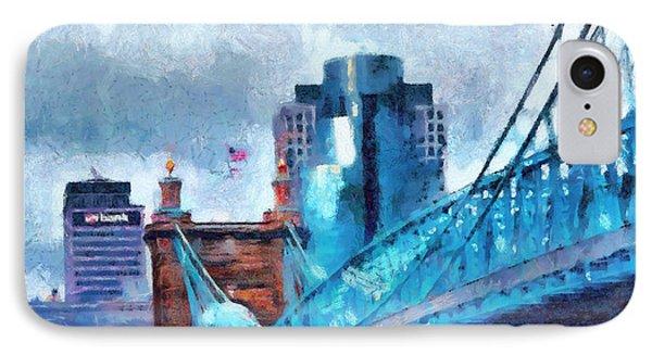Suspension Bridge And Cincinnati IPhone Case by Dan Sproul