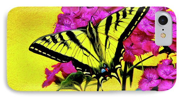 IPhone Case featuring the digital art Swallow Tail Feeding by James Steele
