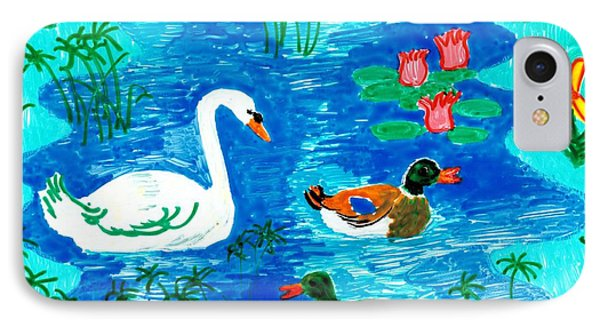 Swan And Two Ducks Phone Case by Sushila Burgess
