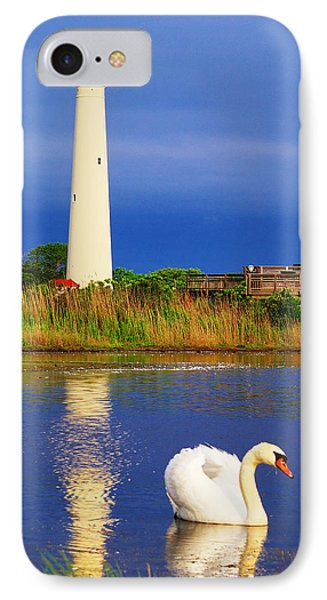 Swan At The Lighthouse IPhone Case by Nick Zelinsky