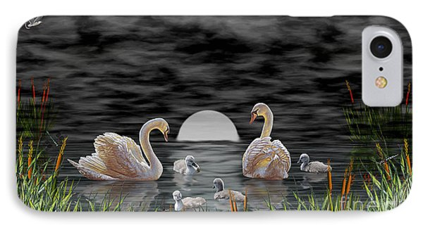 Swan Family IPhone Case by Terri Mills