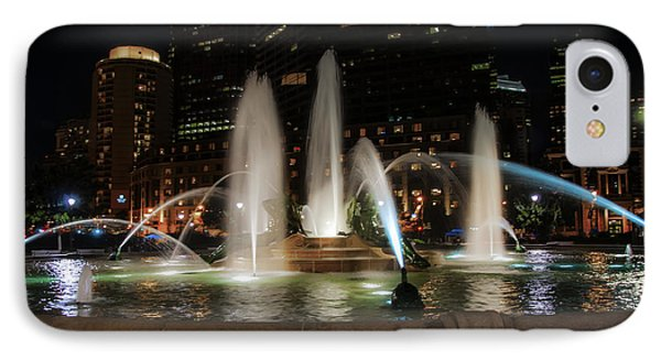 Swan Fountain In The Night Lights IPhone Case by Bill Cannon
