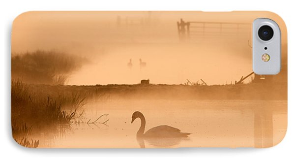 Swan In The Mist IPhone Case by Roeselien Raimond