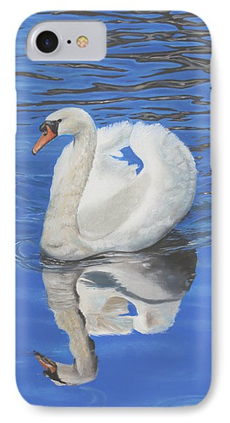 IPhone Case featuring the painting Swan Reflection by Elizabeth Lock