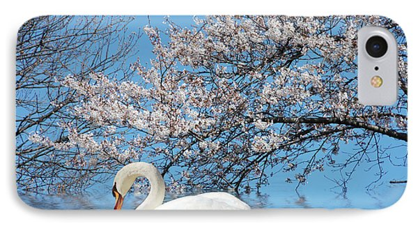 IPhone Case featuring the photograph Swan Under The Spring Trees  by Elaine Manley