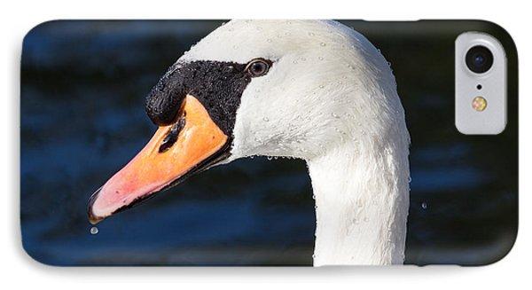 Swan Water Droplets  IPhone Case by David Pyatt