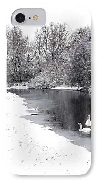 Swans In The Snow Phone Case by Gary Eason