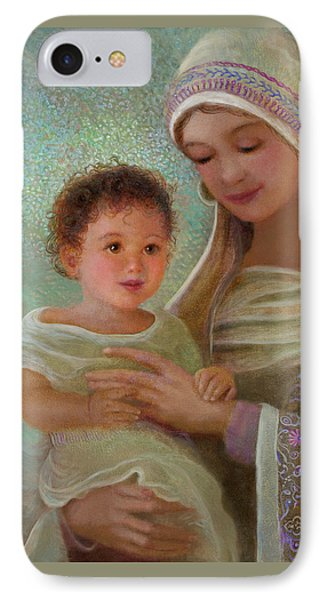 IPhone Case featuring the painting Sweet Grace Madonna And Child by Nancy Lee Moran