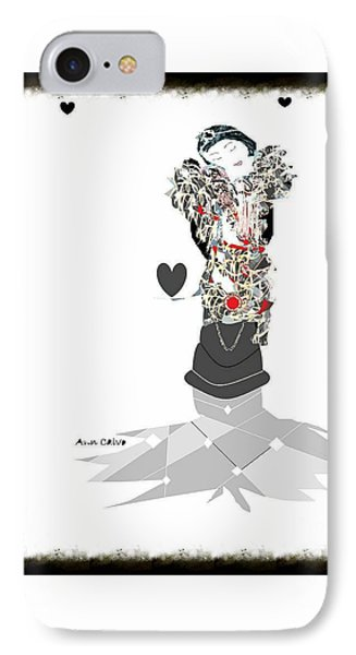 IPhone Case featuring the mixed media Sweet Lady 7 by Ann Calvo