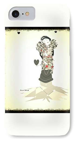 IPhone Case featuring the mixed media Sweet Lady 8 by Ann Calvo