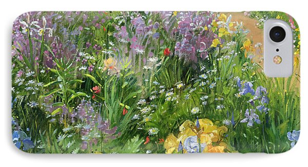 Sweet Rocket - Foxgloves And Irises IPhone 7 Case by Timothy Easton