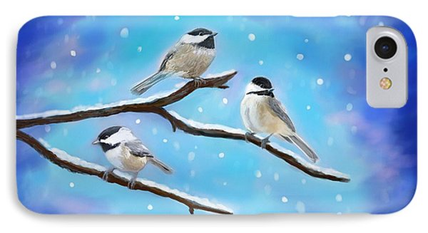 IPhone Case featuring the painting Sweetest Winter Birdies by Leslie Allen