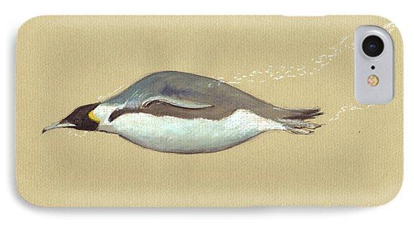 Penguin iPhone 7 Case - Swimming Penguin Painting by Juan  Bosco