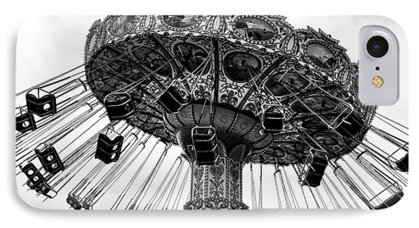 Swinging At Seaside Heights Mono IPhone Case by John Rizzuto