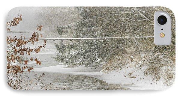 Swinging Bridge In Snow Storm IPhone Case