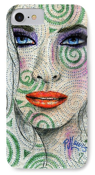 IPhone Case featuring the drawing Swirl Girl by P J Lewis