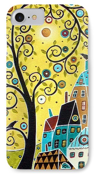 Swirl Tree Two Birds And Houses Phone Case by Karla Gerard
