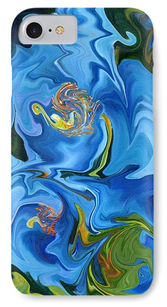 Swirled Blue Poppies IPhone Case by Renate Nadi Wesley