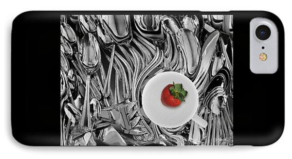 Swirled Flatware And Strawberry IPhone Case by Joe Bonita