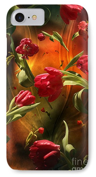 IPhone Case featuring the digital art Swirling Tulips by Johnny Hildingsson