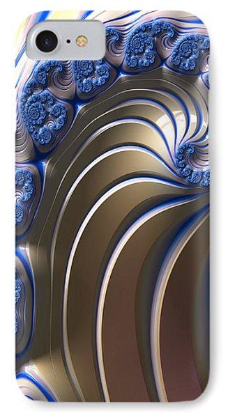 IPhone Case featuring the digital art Swirly Blue Fractal Art by Bonnie Bruno