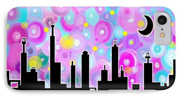 IPhone Case featuring the painting Swirly Metropolis by Shawna Rowe