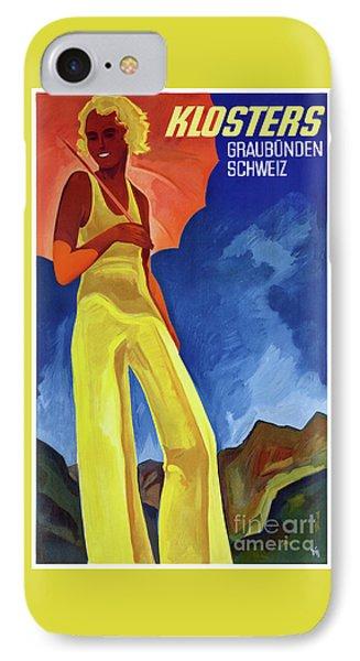 Switzerland Graubuenden Vintage Poster Restored IPhone Case