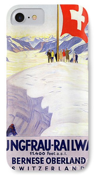 Switzerland Jungfrau Railway Vintage Poster Phone Case by Carsten Reisinger