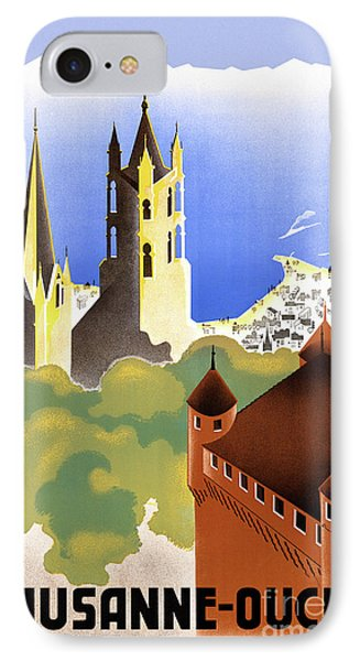 Switzerland Lausanne Ouchy Vintage Travel Poster IPhone Case