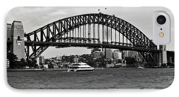 Sydney Harbour Bridge In Black And White Phone Case by Chris Smith