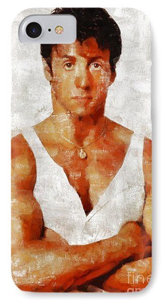 Sylvester Stallone, Hollywood Legend By Mary Bassett IPhone Case by Mary Bassett