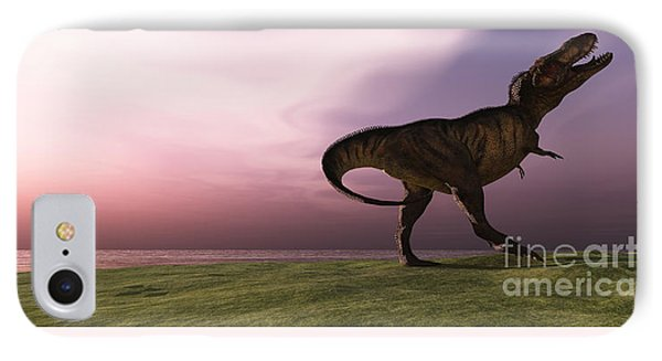 T-rex At Sunrise Phone Case by Corey Ford