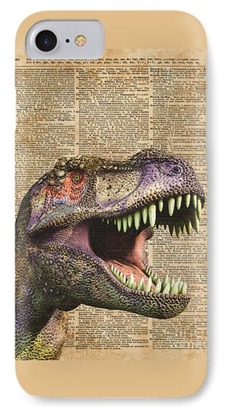T-rex,tyrannosaurus,dinosaur Vintage Dictionary Art IPhone 7 Case by Jacob Kuch