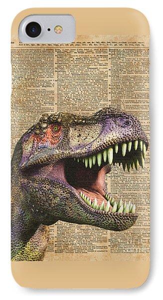 T-rex,tyrannosaurus,dinosaur Vintage Dictionary Art IPhone Case by Jacob Kuch