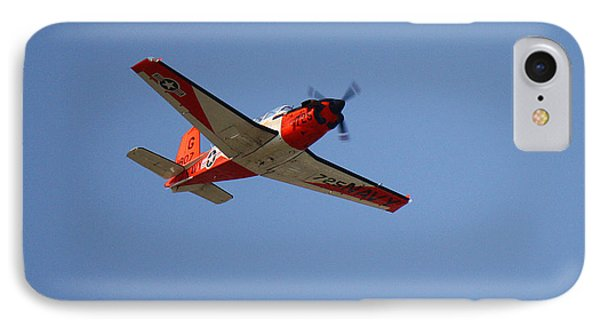 T34 Mentor Trainer Flying IPhone Case by Roena King