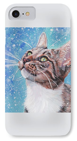 IPhone Case featuring the painting Tabby Cat In The Winter by Lee Ann Shepard
