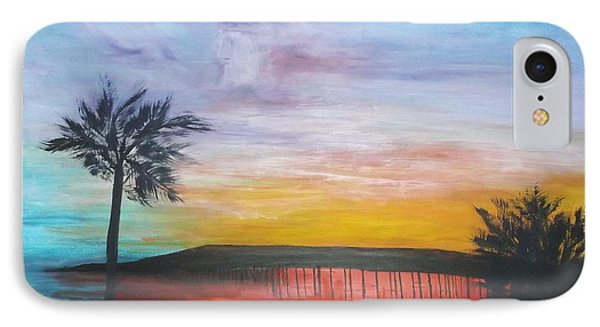 IPhone Case featuring the painting Table On The Beach From The Water Series by Donna Dixon